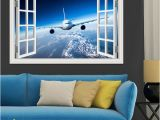 Large Aviation Wall Murals 3d Landscape Wallpaper Airplane Wall Sticker Decal Vinyl Wall Art Mural Window View Blue Sky Home Decor Living Room Stickers Wall Decals
