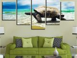 Large Beach Wall Murals 5 Panel Turtle Crawling the Beach Modern Décor Canvas Wall Art Hd Print