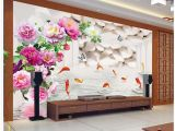 Large Flower Wall Murals 3d Wallpaper Mural Decor Backdrop the Peony Nine Fish Figure 3