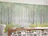 Large forest Wall Mural Abstract Hand Painted Birch forest Scenic Wallpaper Wall