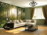Large forest Wall Mural forest at Sunrise Vinyl Wall Mural Decal Digital