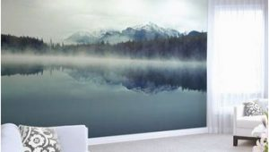 Large forest Wall Mural Mountain Lake Wallpaper Mural Foggy Ombre Mountain Lake