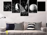 Large Golf Wall Murals Golf Course White and Black Wall Art Golf Ball Paintings Multi Panel Printed On Canvas Landscape Artwork Modern Home Decoration Giclee Wooden