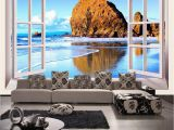 Large Mural Prints Custom Wallpaper 3d Stereoscopic Window Beach Scenery Living