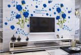 Large Murals for Walls wholesale Blue Flower Mural Rose 3d Wall Stickers Mural
