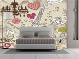 Large Wall Mural Decal Amazon Wall Mural Sticker [ Paris Decor Doodles