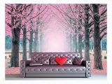 Large Wall Mural Decal Wall Mural Lane Of Pink Fallen Leaves with Trees by