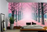 Large Wall Mural Decals Foggy Pink Tree Path Wall Mural Self Adhesive Vinyl Wallpaper Peel & Stick Fabric Wall Decal