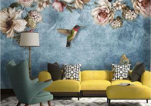 Large Wall Mural Stencils European Style Bold Blossoms Birds Wallpaper Mural