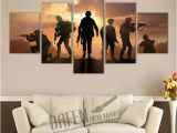 Large Wall Murals Canvas Military sol Rs Silhouettes 5 Piece Canvas Print Wall Art Painting