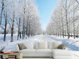 Large Wall Murals Cheap Custom Size 3d Wall Murals Wallpaper Winter Snow Tree Road Living
