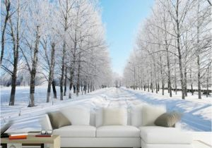 Large Wall Murals Cheap Custom Size 3d Wall Murals Wallpaper Winter Snow Tree Road Living