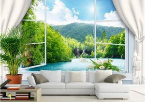 Large Wall Murals Cheap Custom Wall Mural Wallpaper 3d Stereoscopic Window Landscape