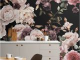 Large Wall Murals Flowers Purple and Pink Dark Floral Wallpaper Mural