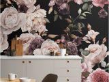 Large Wallpaper Feature Wall Murals Purple and Pink Dark Floral Wallpaper Mural