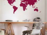 Large World Map Wall Mural Vinyl Wall World Map Decal Removable Detailed World