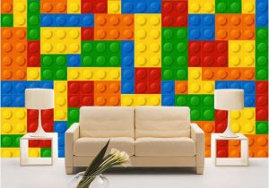 Lego Wall Murals Custom Wall Cloth 3d Colorful toy Blocks Lego Bricks Wall Covering