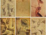 Leonardo Da Vinci Wall Murals Retro Poster Leonardo Da Vinci Manuscript Vitruvian Man Posters Home Art Decorative Kraft Paper Vintage Poster Design Wall Stickers Designer Wall