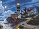 Lighthouse Cove Wall Mural Moonlit Lighthouse James Himsworth