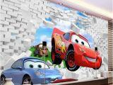Lightning Mcqueen Wall Murals Uk 3d Cars Mcqueen Broken Wall Pattern Custom Wallpaper Mural