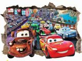 Lightning Mcqueen Wall Stickers Mural On Sale Disney Cars 3d Wall Sticker Smashed Bedroom Kids
