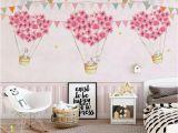 Little Girl Bedroom Wall Murals Nursery Wallpaper for Kids Pink Hot Air Balloon Wall Mural