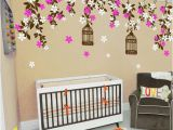 Little Girl Room Wall Murals Floral Wall Decals Cherry Blossom Tree Decals Kids Wall Decals Baby Nursery Decals Pink White Girl Wall Art Cherry Blossom Vines