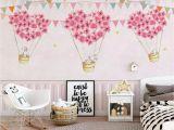 Little Girl Room Wall Murals Nursery Wallpaper for Kids Pink Hot Air Balloon Wall Mural Cartoon Rabbit Wall Art Girls Boys Bedroom Baby Room Play Room Children Rooms