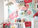 Little Girl Wall Murals Colourful Floral Wallpaper In A Baby S Nursery