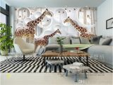 Living Room Wall Murals Uk Unique 3d View Giraffe Wallpaper Cute Animal Wall Mural Art