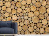 Log Cabin Wall Mural Stacked Log Pile