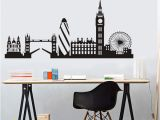 London Skyline Wall Mural Dctop City Building London Skyline Silhouette Wall Sticker Big Ben Landmark Vinyl Mural Decal Living Room Wall Art Home Decor Mural Stickers Mural
