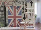 London Underground Wall Mural London Great Britain Big Ben Flag Collage Wall Mural by Lebensart
