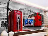 London Wall Mural Wallpaper Us $19 0 Off Free Shipping 3d Custom Wallpaper Mural Uk London Bus Classic Car Building Background Wall Hotel Mural Living Room Wallpaper In