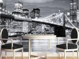 Manhattan Skyline Wall Mural Großhandel Kundenspezifische Wandgemälde Manhattan Brücke New York Europäische Und Amerikanische Städte Schwarzweiss Wohnzimmer Hintergrund Tapete Von