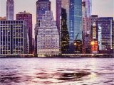 Manhattan Skyline Wall Mural Purple Manhattan Skyline Wall Mural