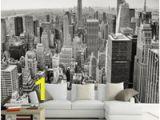 Manhattan Skyline Wall Mural Retro Nostalgisches Schwarzweiss sofa Fernsehhintergrundwanddekoration Tapetenstangenhotelwohnzimmer Tapetenwandgemälde New York 3d