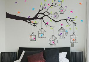 Marauders Map Wall Mural Tree Birds and Birdcages Vinyl Wall Art Decal Wd 0917