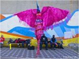 Mardi Gras Wall Mural Moko Jumbie Pink Wings Stilt Costumes