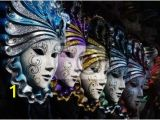 Mardi Gras Wall Mural Row Of Venetian Masks In Gold and Blue Wall Mural • Pixers
