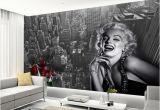 Marilyn Monroe Mural Wallpaper Modern Simple Black and White Building Marilyn Monroe