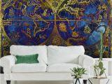 Marimekko Wall Mural Vintage Metallic Blue and Gold World Map Wallpaper Mural