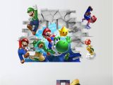 Mario Bros Wall Mural 3d Cartoon Super Mario Diy Wall Stickers Living Room Bedroom Wall Decal Classic Game Room for Room Home Decor Boys Gift Black
