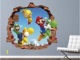 Mario Bros Wall Mural Mario Bros Wall Decal Super Mario World 3d Brick Smashed Decor Art Kids Luigi Sticker Vinyl Mural Custom Gift