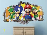 Mario Brothers Wall Mural Mario Bros Friends Wall Decal sonic the Hedgehog 3d Smashed Decor Art Kids Sticker Vinyl Mural Personalized Gift