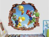 Mario Brothers Wall Mural Mario Bros Wall Decal Super Mario World 3d Brick Smashed Decor Art Kids Luigi Sticker Vinyl Mural Custom Gift
