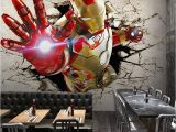 Marvel Heroes Wall Mural 3d Stereo Custom Lo Otive Murals Iron Man Broken Wall