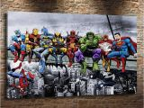 Marvel Heroes Wall Mural Marvel Superheroes On Abeam Hd Canvas Printing New Home Decoration Art Painting Unframed Framed