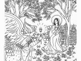 Mary and Angel Gabriel Coloring Page Annunciation Coloring Page Our Lady Mary Angel Gabriel Marian Christian Catholic Art