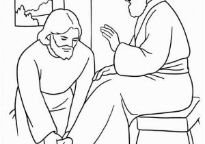 Mary Washes Jesus Feet Coloring Page Jesus Washes Disciples Feet